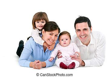 weißes, freigestellt, familie, glücklich