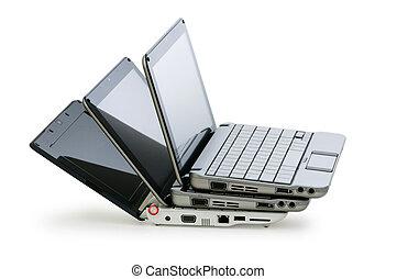 weißes, freigestellt, hintergrund, netbook