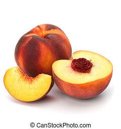 weißes, freigestellt, hintergrund, pfirsich