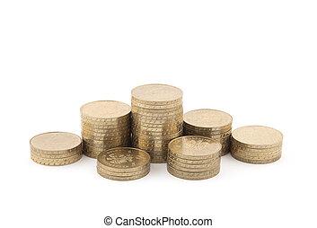 weißes, geldmünzen, freigestellt, stapel