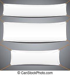 weißes, gewebe, banners., vektor, werbung, schablone