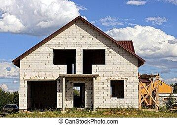 weißes, groß, unfertig, leerer , mauerstein, windows, haus, privat