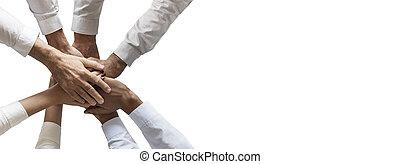 weißes, hände, ausstellung, gemeinschaftsarbeit, einheit, stapel, freigestellt