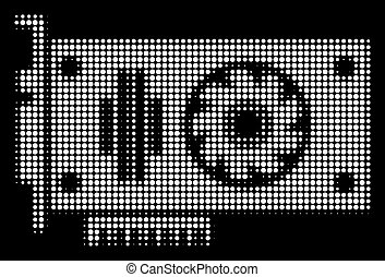 weißes, halftone, video, gpu, karte, ikone