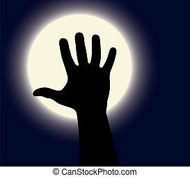 weißes, haloween, schwarz, mond, hand