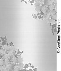 weißes, hibiskus, hochzeitskarten