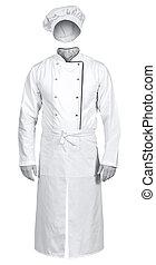 weißes, küchenchef, jacke, mit, schuerze, und, hut,...