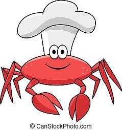 weißes, küchenchef, krabbe, koch, lächeln, hut, karikatur