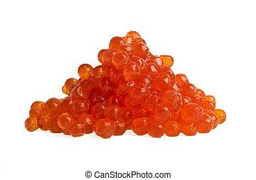 weißes, kaviar, roter hintergrund