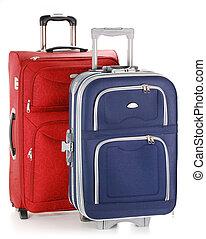 weißes, koffer, freigestellt, zwei