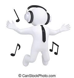 weißes, kopfhörer, 3d, mann
