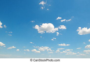 weißes, kumulus umwölkt, gegen, der, blauer himmel