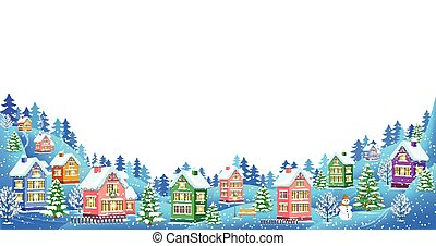 weißes, landschaftsbild, winter, hintergrund, zusammensetzung