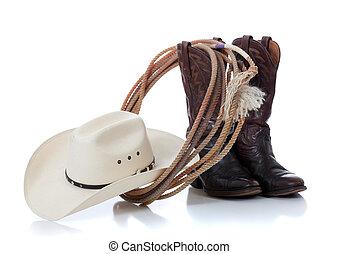 weißes, lasso, hut, stiefeln, cowboy