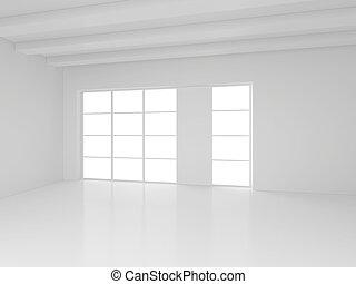 weißes, leerer , inneneinrichtung, mit, fenster., 3d, rendering.