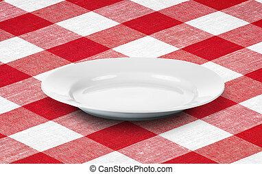 weißes, leerer teller, auf, rotes , kattun, tischtuch
