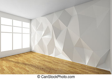 Weißes, Leeres Zimmer, Mit, Rumpled, Wand, Und, Hölzern, Parkettboden
