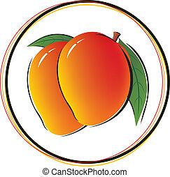 weißes, mango, hintergrund