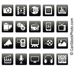 weißes, medien, heiligenbilder, auf, schwarz, quadrate
