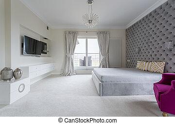 weißes, modern, schalfzimmer