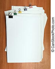 weißes, papier, dokument, schablone