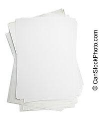 weißes, papier, stapel