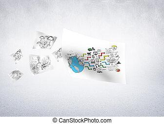 weißes, papier, vor, wand