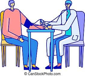 weißes, patient, uniform, abbildung, blut, freigestellt, prüfung, vektor, doktor, messen, druck, oder, klinikum