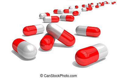 weißes, pillen, rotes , 3d