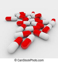 weißes, pillen, rotes