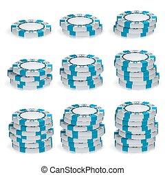 weißes, poker- späne, stapel, vector., 3d, set., plastik, runder , feuerhaken, spielen chips, zeichen, freigestellt, auf, white., kasino, jackpot, begriff, illustration.