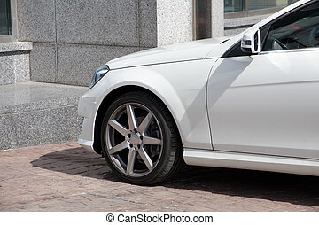 weißes, prestigious, auto