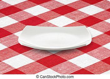 weißes, quadrat, leerer teller, auf, rotes , kattun, tischtuch
