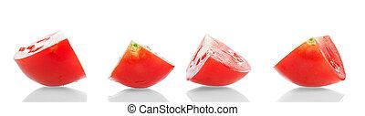 weißes, quartal, closeup, freigestellt, tomaten