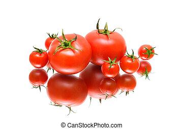 weißes, reflexion, hintergrund, tomaten