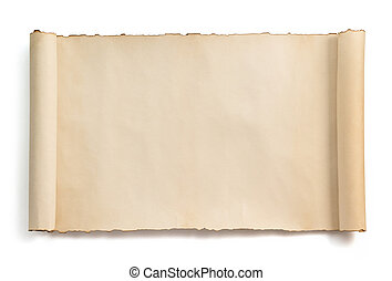 weißes, rolle, freigestellt, pergament