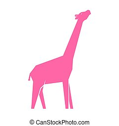 weißes, rosa, giraffe, freigestellt