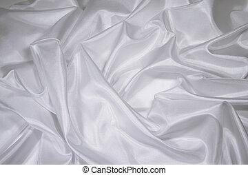 weißes, satin/silk, stoff, 1