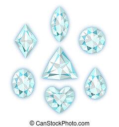 weißes, satz, freigestellt, diamanten