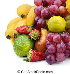 weißes, satz, freigestellt, hintergrund, früchte