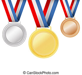 weißes, satz, medaillen