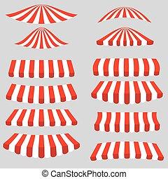 weißes, satz, rotes , zelte