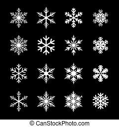 weißes, satz, schneeflocken