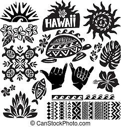 weißes, satz, schwarz, hawaii