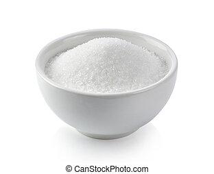 weißes, schüssel, hintergrund, zucker