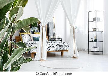 weißes, schalfzimmer, bett, canopied