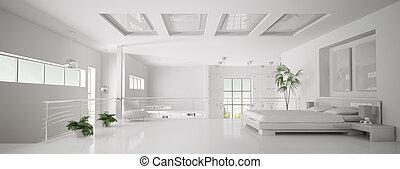 weißes, schalfzimmer, inneneinrichtung, panorama, 3d, render