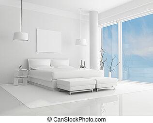 weißes, schalfzimmer