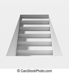 weißes, schatten, treppenaufgang