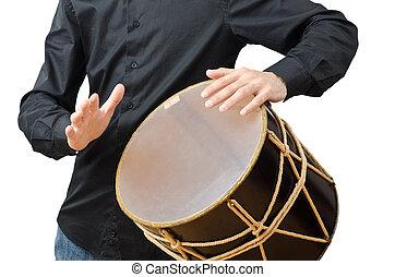 weißes, schlagzeugspieler, trommel, spielende